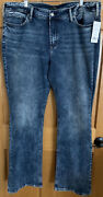 Nwt Silver Jeans Avery Women's Size 20 41x33 Curvy High Rise Slim Boot Jeans