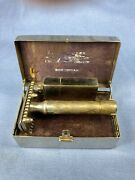 Antique Bostonian 1927 Gillette Safety Razor With Chrome Lift Case And Blade Bank
