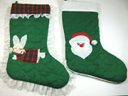 2 Vintage Handmade His Hers Quilted Christmas Stockings Angel Santa Lace Plaid