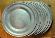"""8 Vtg Wilton Columbia Armetale Pewter 5.75"""" Tavern Medieval Bread Butter Plates"""