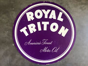 Vintage Royal Triton Motor Oil Double Sided Hanging Sign No Creases Or Tears