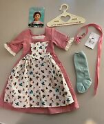 American Girl Felicity Spring Gown With Pinner Apron And Pins, Pleasant Company