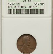1917 Ddo 1c Anacs Vg 10 Lincoln Cent Double Die Obv Old Small Holder Vg10