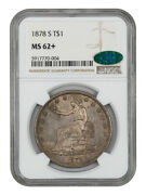 1878-s Trade Ngc/cac Ms62+ - Great Type Coin - Us Trade Dollar