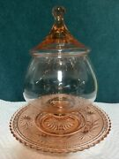 Vintage Depression Pink Colored Glass Apothecary Circus Tent Jar And 7.75 Plate