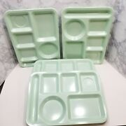 Texas Ware Lot Of 4 Vintage Cafeteria Divided Serving Trays Mint Green Melamine