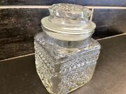 Mcm Vintage Apothecary Clear Diamond Cut Glass Canister Jar With Lid