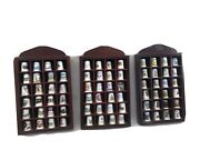 Thimbles Job Lot Display Cases Set Of 3 With 72 Thimbles Wooden Brown Well Made