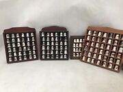 Thimble Job Lot Display Collection 130 Thimbles 4 Cases Wooden Lovely Unique