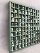 Thimble Display Case With 100 Thimbles Painted Wooden Well Made Unique Lot