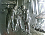 Vintage Embossed Silver Plate Card Tray Tavern Scene - Dutch