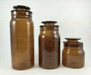 Hearth And Hand With Magnolia 3 Piece Amber Glass Canister Set New