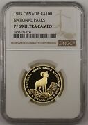 1985 Canada 100 Gold Commemorative Coin National Parks Ngc Pf-69 Ultra Cameo