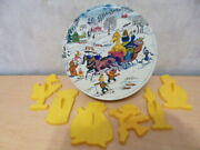 Rare Complete 1979 Muppets/sesame Street Round Cookie Tin W/ 6 Cookie Cutters