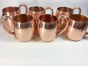 Set Of 6 Vintage Solid Copper West Bend Co Mugs Moscow Mule