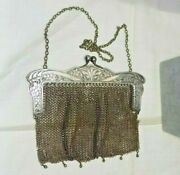 Antique Edwardian German Silver Mesh Chainmaille Bag Purse Wide Floral Frame