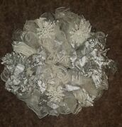 White And Silver Christmas Wreath - Snowflake Ornaments And Diverse Ribbon Accents