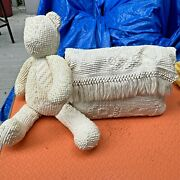 Chenille Bedspread Teddy Bear And Pillow - Custom Made From My Grandmother's Bed