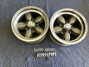 Vintage Pair Of American Racing Daisy Wheels 14x7 Chevy 5 On 4 3/4 And 4 1/2 Ford