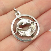 925 Sterling Silver Vintage Germany Anson Pisces Zodiac Sign Charm Pendant