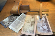 Antique Wooden Stereoscope 3d Viewer With 4 Cards