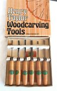 Vtg 6 Pcs Henry Taylor Woodcarving Tool Set Tools Uk Made Chisel Very Nice