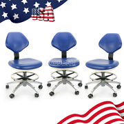 3x Dental Mobile Chair Doctor Assistant Stool Adjustable Pu Leather Blue