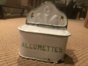Allumettes Box. French Enamelware. White With Light Green.