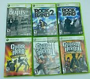 Xbox 360 Lot Of 6 Games Guitar Hero 1 2 World Tour Rock Band 1 2 The Beatles