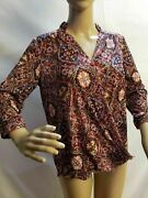 Eden And Olivia Anthropologie Floral Sheer Multicolored Front Wrap Style Top S