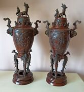 2 X Large Antique Chinese Bronze Incense Burners 17 Tall Vgc
