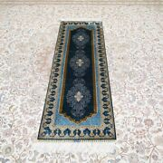 Yilong 2and039x6and039 Blue Handknotted Silk Hallway Rug Runner Gallery Carpet Ywx175a