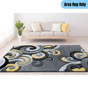 5 X 7.5 Ft. Contemporary Indoor Area Rug Whimsical Wind Wave Pattern Yellow/gray