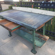 Vtg Industrial Cast Iron Foundry Table Legs Work Shop Bench Table Kitchen Island
