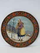 Collectible Early Russian Ussr Painted Wooden Plate 1920-1940
