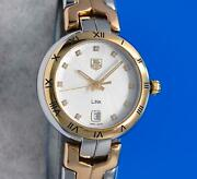Ladies Tag Heuer Link 18k Gold Plated And Ss Watch - Silver Diamond Dial - Wat1352