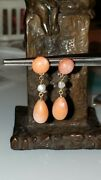 Antique Victorian 14k Rose Gold Coral Tiny Pearl Drop Earrings G-44