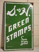 Original Porcelain S And H Green Stamps Advertising Sign Double Sidecountry Store