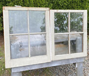 2 Vintage Wood Windows Top And Bottom No Broken Glass 24.25 X 20 And 23 X 20