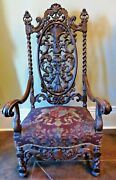 Antique French Renaissance Revival Throne Arm Chair Carved Walnut Lion Crest Fab