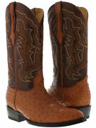 Mens Cognac Western Cowboy Boots Exotic Skin Leather Ostrich Quill Pointed