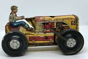 1950's Marx Wind-up Tin Litho Tractor