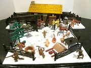 Vtg Louis Marx Play Set Bar M Ranch Cabin, Figures, Many, Many Accessory Pieces