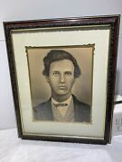 Vtg 1890s Antique Young Man Charcoal Pencil Portrait Drawing On Board 16x20
