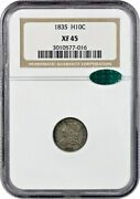 1835 H10c Ngc/cac Xf45 Small Date Small 5c Early Half Dimes