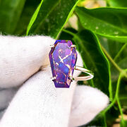 Real Purple Copper Turquoise Handmade 925 Sterling Silver Coffin Adjustable Ring