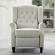 Modern Recliner Chair Fabric Arm With Footrest Push Back Soft Seat Lounge Chair