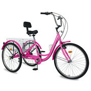 24 Adult Tricycle 7speed 3wheel W/shopping Basket Bicycle Cruiser Trike Rosered