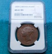 Ngc Super 1858 United Kingdom Young Head Victoria Penny Copper Coin Appraisal