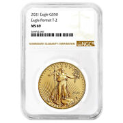 2021 50 Type 2 American Gold Eagle 1 Oz. Ngc Ms69 Brown Label